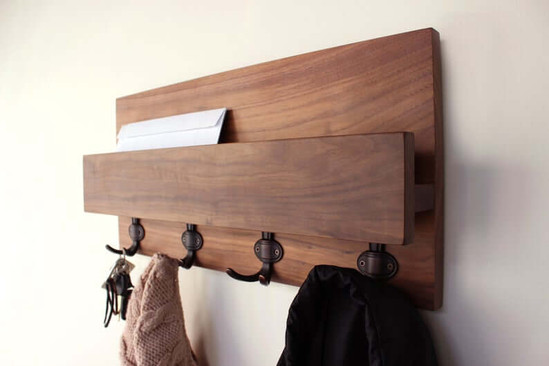 Hardwood Entryway Mail Key Organizer