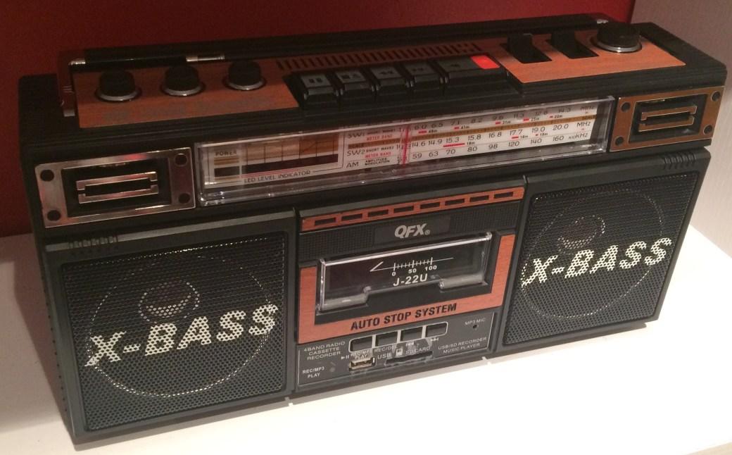 A boom box cassette player/radio