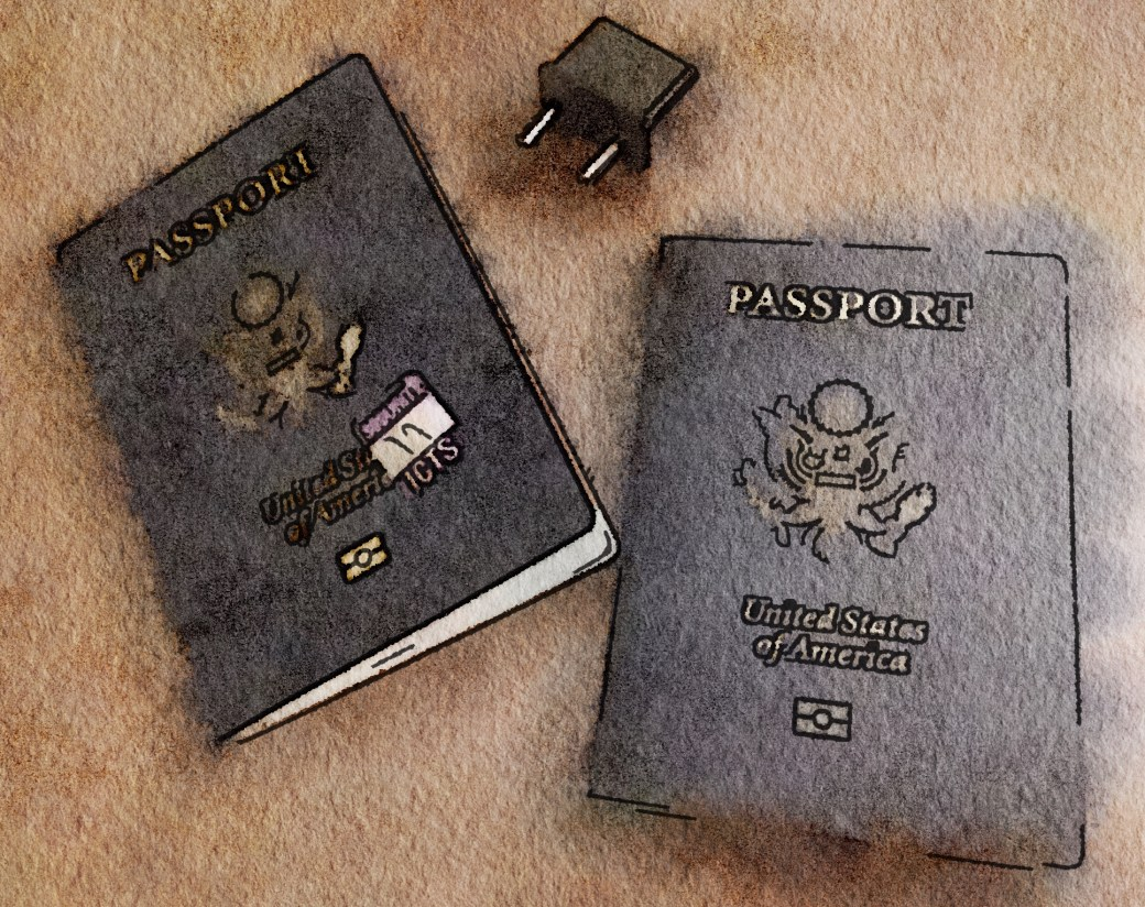 Watercolor of two US passports and a two pronged European electrical plug converter.