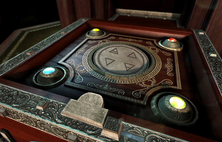 In-game screenshot of a puzzle involving four glowing orbs and rune symbols.