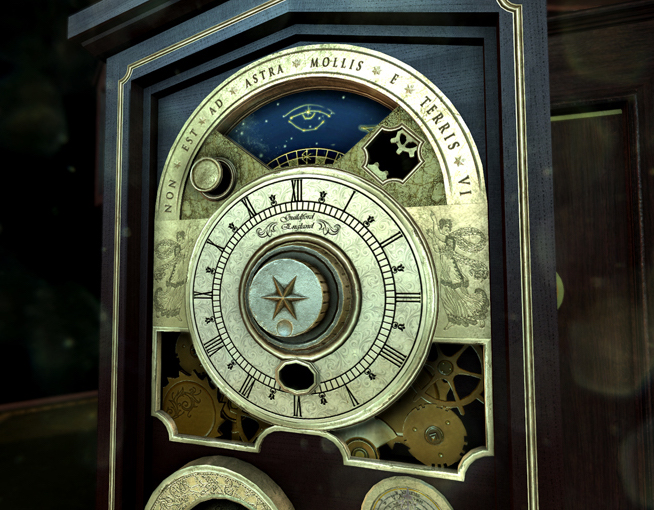 In-game screenshot of a puzzle involving a mechanical clock.