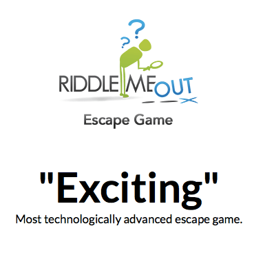 "Screenshot of Riddle Me Out's website. States, ""Exciting. Most technologically advanced escape game."""