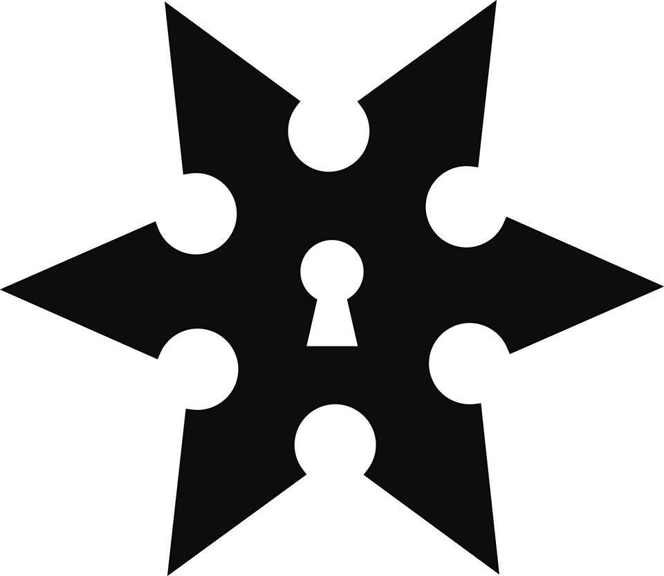 Ninja Escape logo - A ninja star with a keyhole in the center.