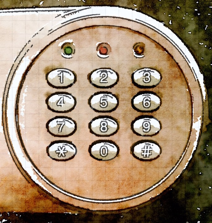 Watercolor image of a digital keypad.