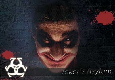 "Image of a psychotic clown. It isn't Batman's Joker, but he looks very similar. Under his face read, ""Joker's Asylum."""