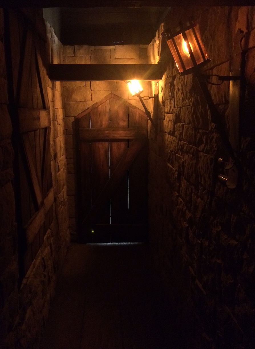 Image of a dark, candlelit, stone walled, wood doored dungeon hallway. It's very detailed.
