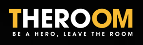"""The Room Logo visually highlights the word, """"HERO"""" in the conglomerated spelling of """"THEROOM."""""""