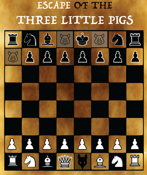 Promo image for the game. A chess board with three black pieces substituted with pigs, and the white king depicted as a wolf.