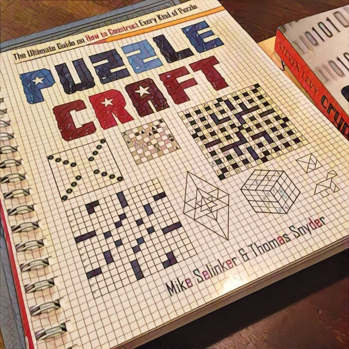 """Mosaic photo of a pile of books. """"Puzzle Craft"""" is front and center."""