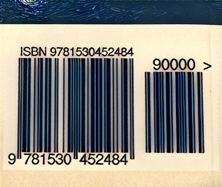Image of a barcode and ISBN from a book