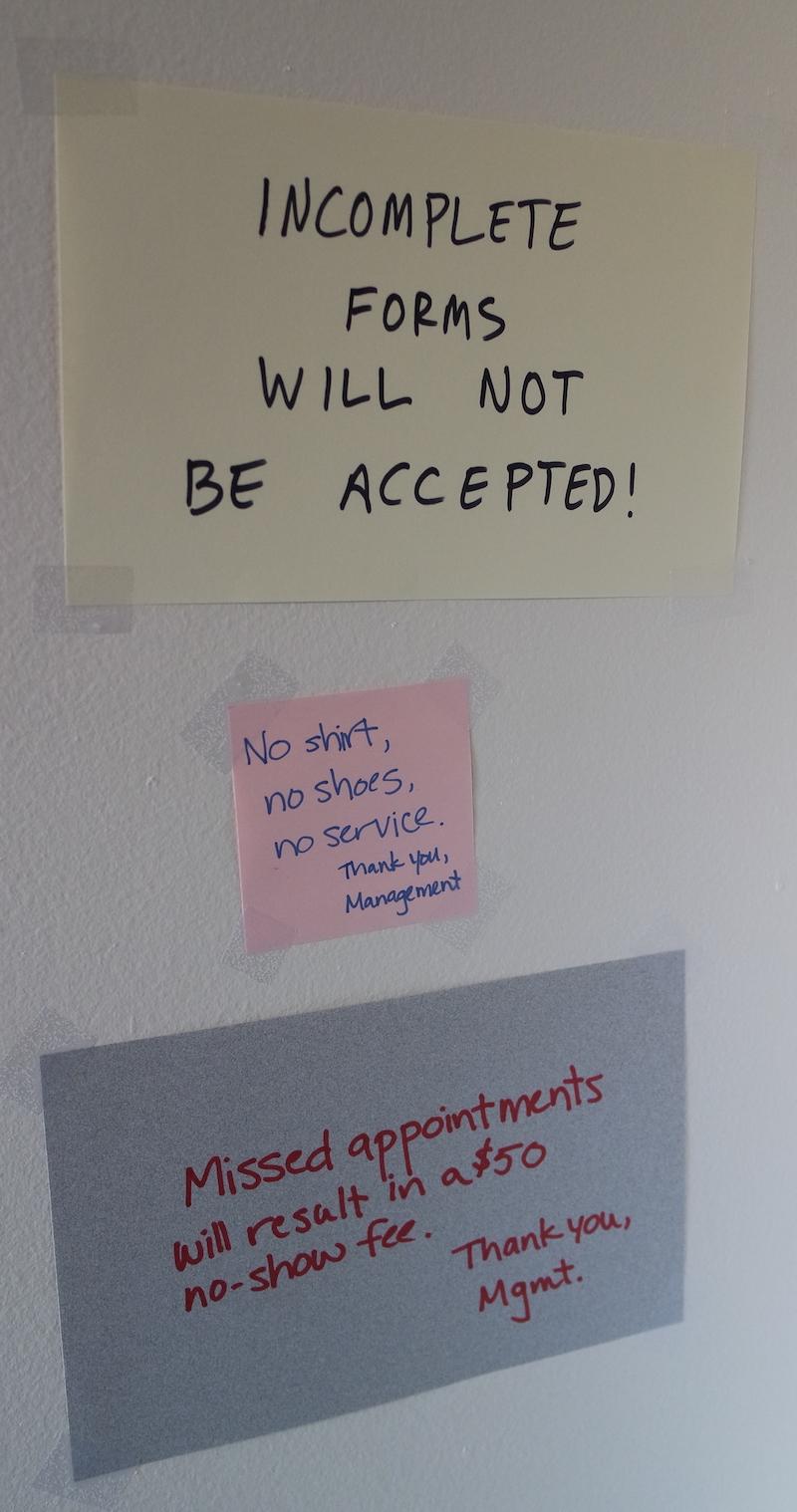 Notes ho the wall read: