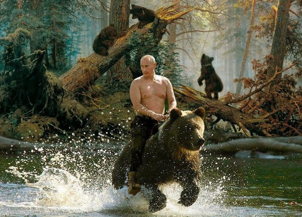 Putin riding a bear as it runs through a stream in the forrest.