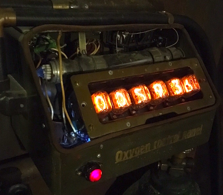 Countdown clock illuminated with nixie tubes. The clock is part of the