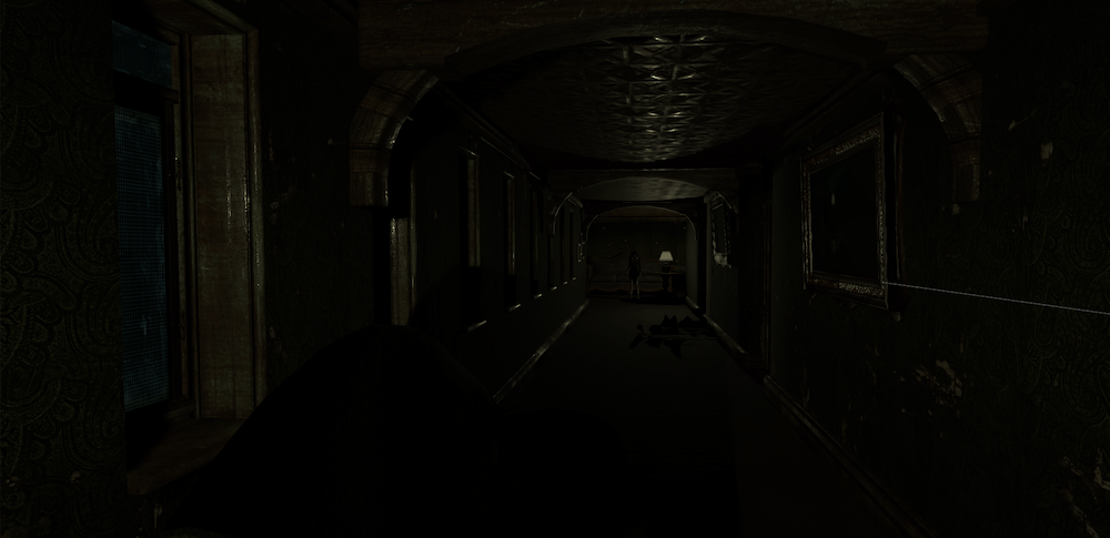 In-game screen shot of a dimly lit long spooky hallway. A small femine figure stands in the shadows at the opposite end.