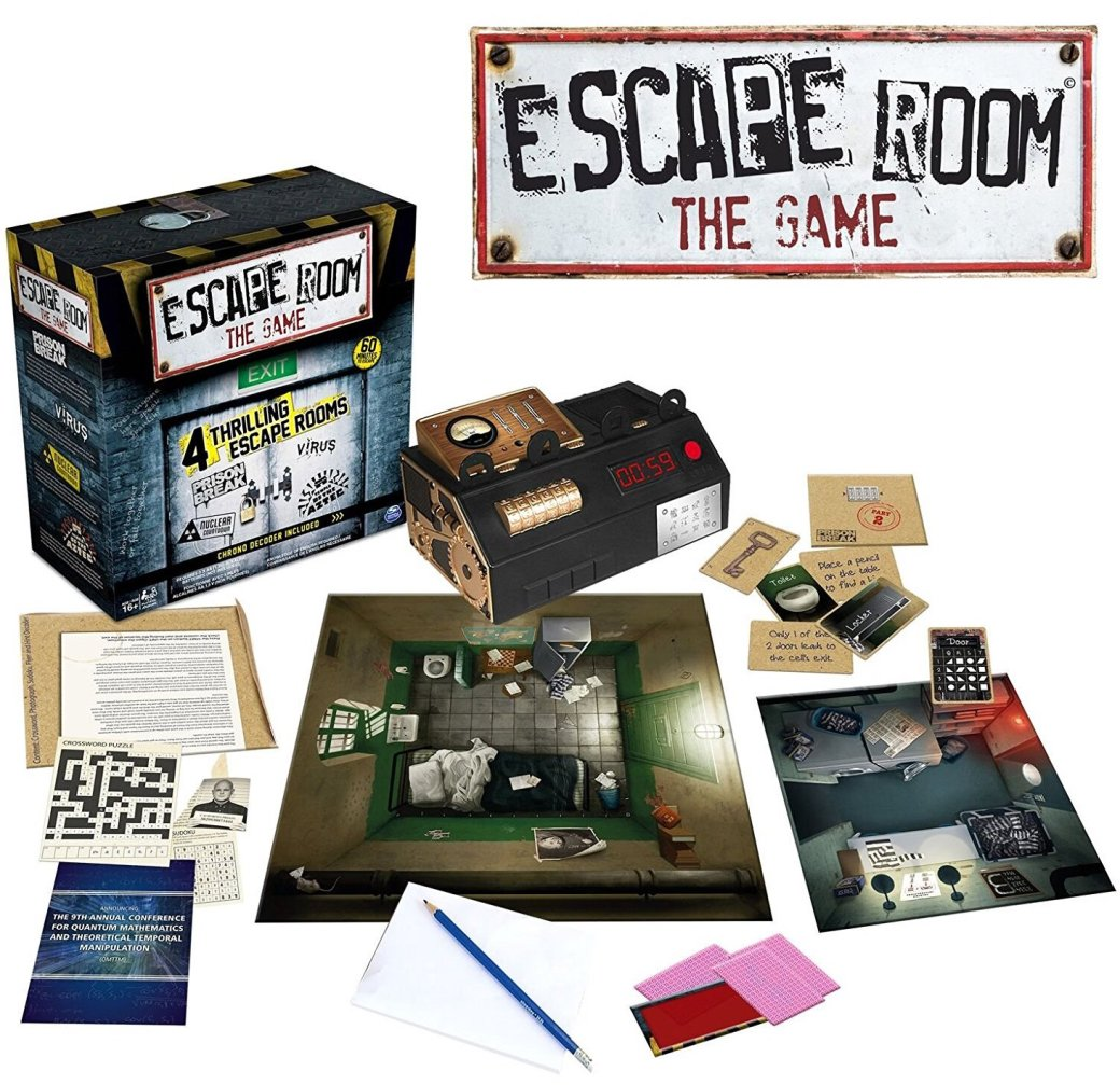 Escape Room The Game box contents. Depicts an array of puzzles and puzzle-items.