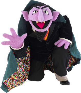 The Count from Sesame Street kneeling and holding up 4 fingers.