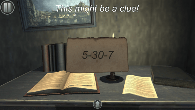 """In game: a piece of paper reads, """"5-30-7"""" above it a message displays reading, """"This might be a clue!"""""""
