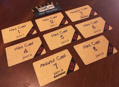 All 8 hints cards for one game.