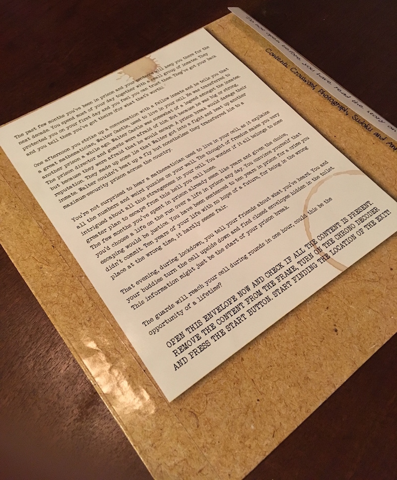 The back of a game envelope with a long letter to read before the game.