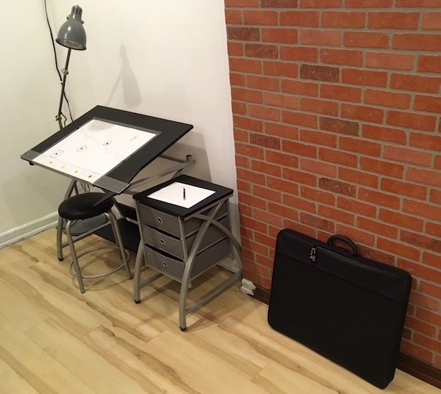 In-game: A drafting table.
