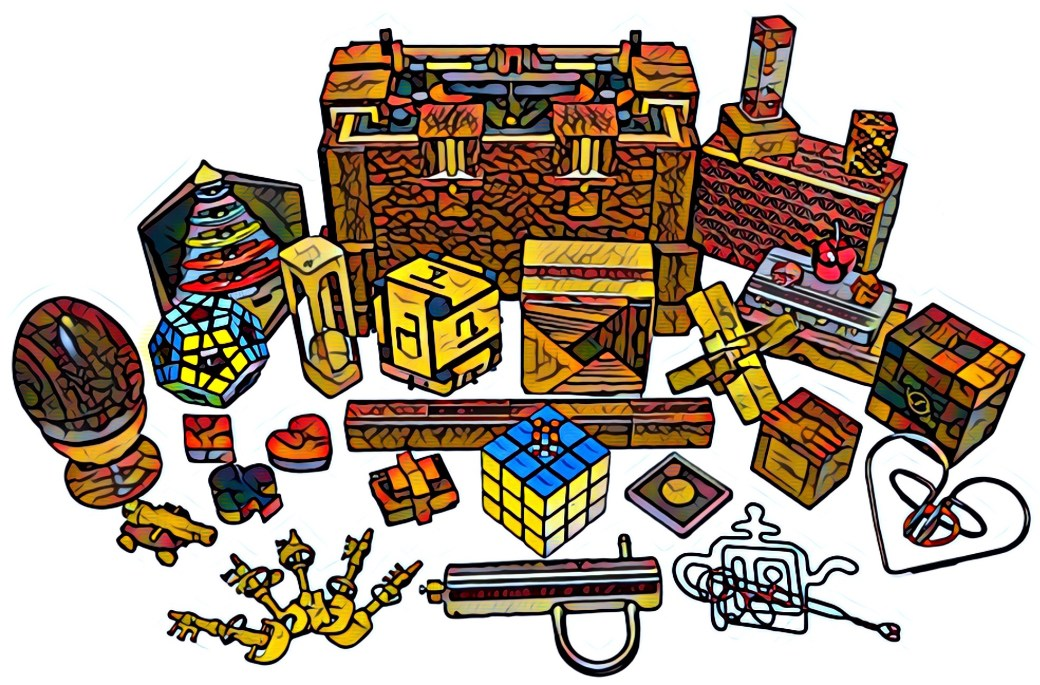 Colorful filtered image of a collection of physical puzzles. Many wooden puzzle boxes, cubes, puzzles locks, and entanglements.