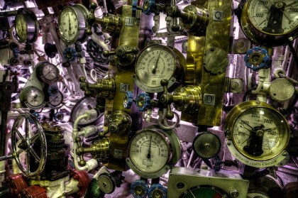 A stunning assortment of valves and gauges.