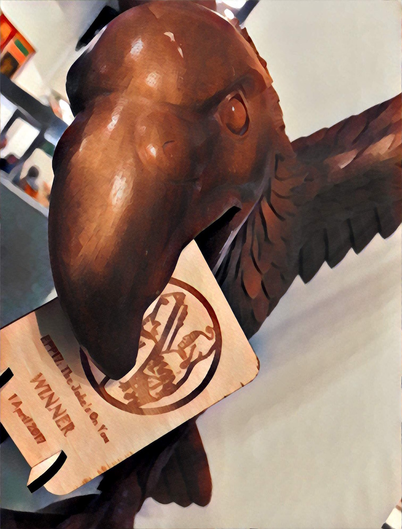 Image of an eagle biting the EPP 17 Trophy.