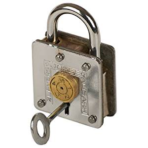 A Houdini trick lock. It appears as a normal padlock with a key and the addition of a small, numbered brass dial on its face.