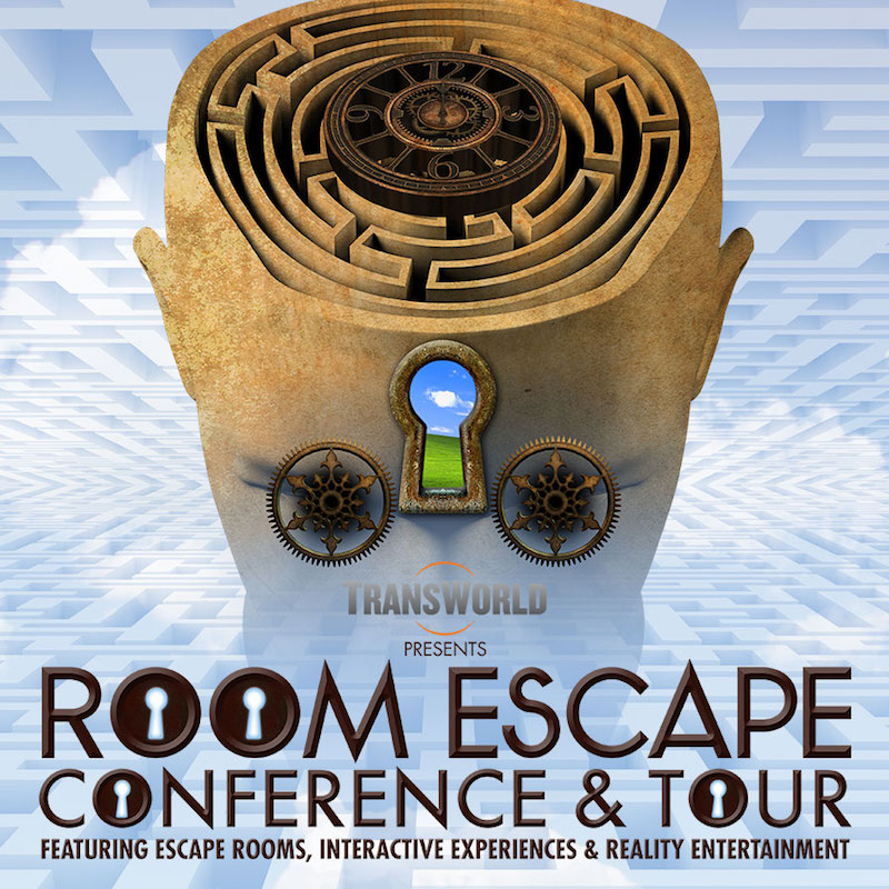 Room Escape Conference & Tour logo, an abstract head with a maze, keyhole, and clock.