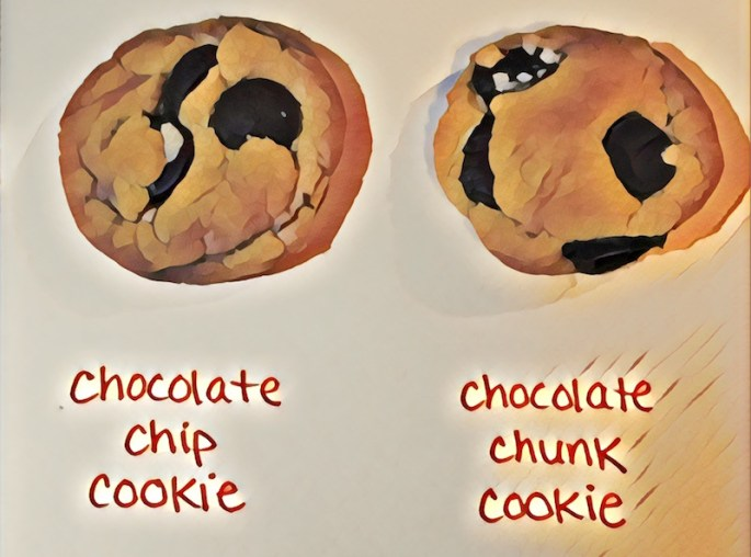 "A pair of cookies, one labeled, ""Chocolate Chip Cookie"" the other labeled ""Chocolate Chunk Cookie"""