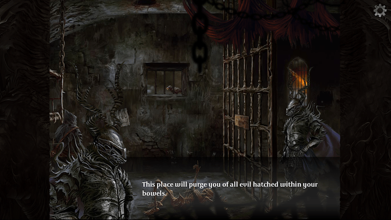 "In game: A dark dungeon with a menacing horned knight stating: ""This place will purge you of all evil hatched within your bowels."