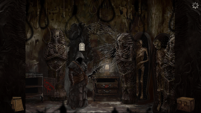 In-game: The hooded main character in a room filled with mummies and sarcophaguses.