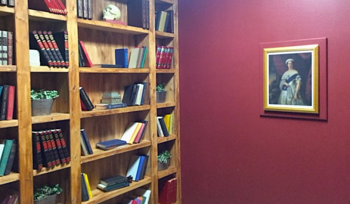 In-game: A large wooden bookcase beside a red wall.