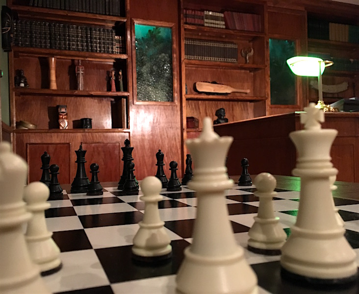 In-game: Shot through a chess board, a beautiful full wall book case.