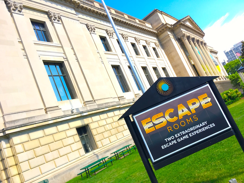 The Franklin Institute with it's new Escape Room sign out front.