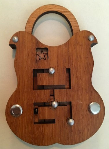 Sliding Lock puzzle, shaped like a padlock with a sliding maze in it's face.