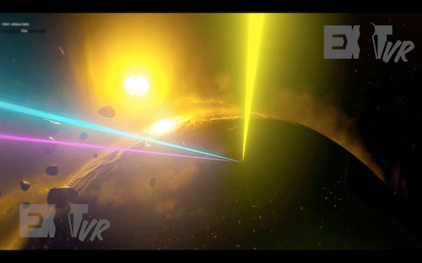 In-game: three beams of light shooting down towards a wrecked Earth.