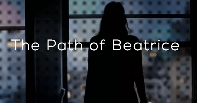 Paradiso Path of Beatrice logo, a silhouetted woman looking out a window upon Manhattan.