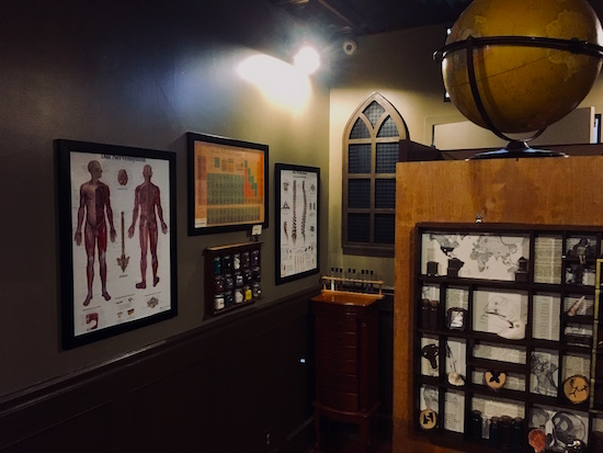 In-game: An assortment of globes, scientific diagrams, minerals, and tiny objects in the house of curiosities.