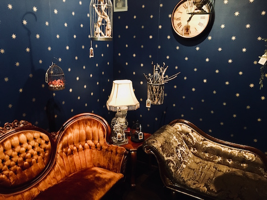 A navy blue room with the walls covered in stars. Strange tagged cages hang above a pair of antique chaise lounges.