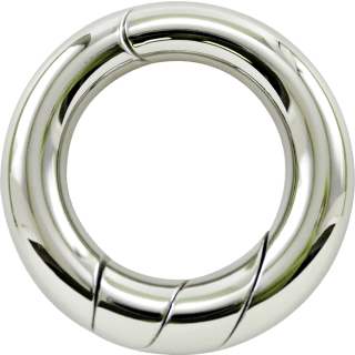 A silver metal loop made of two interlocking pieces.
