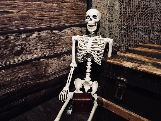 In-game: A skeleton beside a chest leaning against a wall.