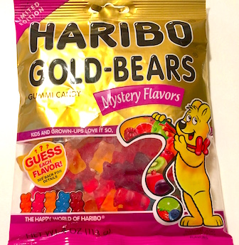 Haribo mystery flavors packaging. A bear holding a big question mark.