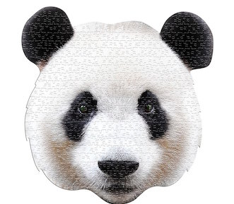 A puzzle made to look like a panda's head.