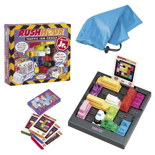 Box art and traffic jam puzzling components of Rush Hour Jr.