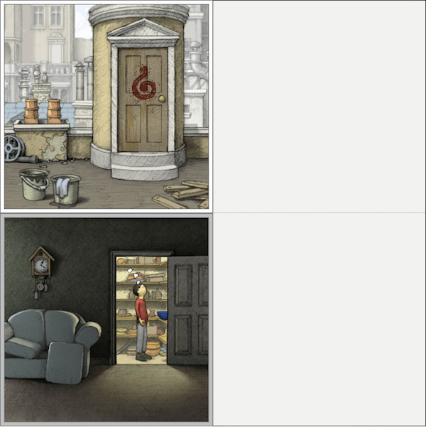 In-game: a 4 paneled layout with two active panels. One on a rooftop, the other in a livingroom.