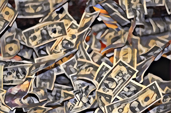 Stylized image of US currency strewn about.