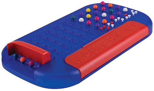 A blue Mastermind Board covered in multicolored pips.