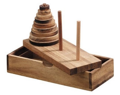 A beautiful wooden towers of hanoi puzzle. There are three vertical rods. One rod has a cone of cylinders stacked on it.