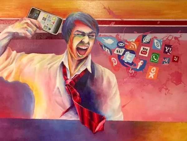 Painting of a man holding an iPhone to his head like a gun, and social media icons shooting out the other side like blood, bone and brains.